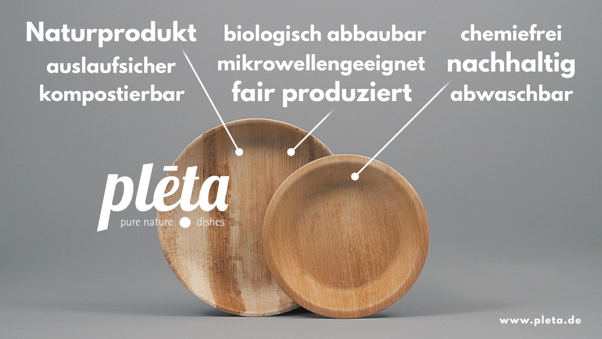Naturprodukt, auslaufsicher, kompostierbar, biologisch abbaubar, mikrowellengeeignet, fair produziert, chemiefrei, nachhaltig und abwaschbar